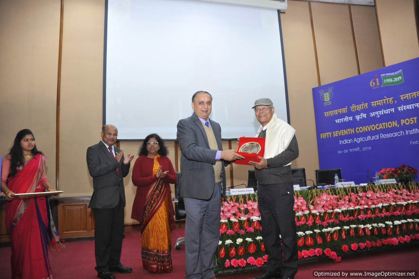 Dr. A.K. Singh, DDG (Ext) & Director IARI presenting momento to Dr. Swapan K. Dutta , Former DDG (Crop Science) at Professors Presentation during 57th IARI convocation