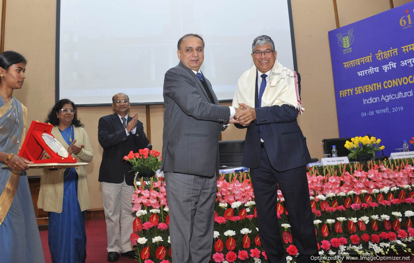 Dr. A.K. Singh, DDG (Ext) and Director felicitating Dr. P.K. Joshi , Director, South Asia, IFPRI, New Delhi during the presentation of significant educational achievements of 2018 on 6.02.19