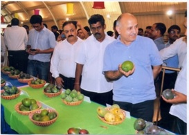 "Hon'ble Dy. Chief Minister of Delhi,Shri Manish Sisodia enquiring about PUSA varieties during the ""Mango Festival"" 2016"